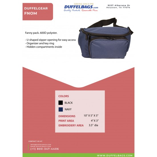 DuffelGear Adjustable Fanny Pack by dufflebags