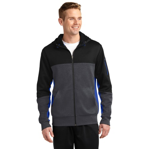 Sport-Tek® Tech Fleece Colorblock Full-Zip Hooded Jacket