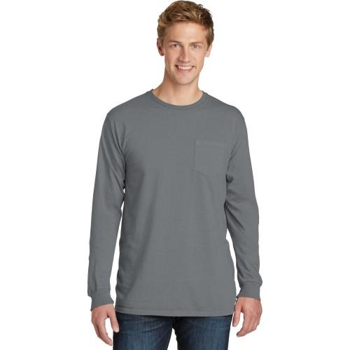 Port & Company® Beach Wash™ Garment-Dyed Long Sleeve Pocket Tee