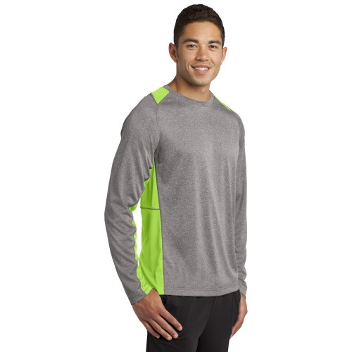 Sport-Tek® Long Sleeve Heather Colorblock Contender™ Tee