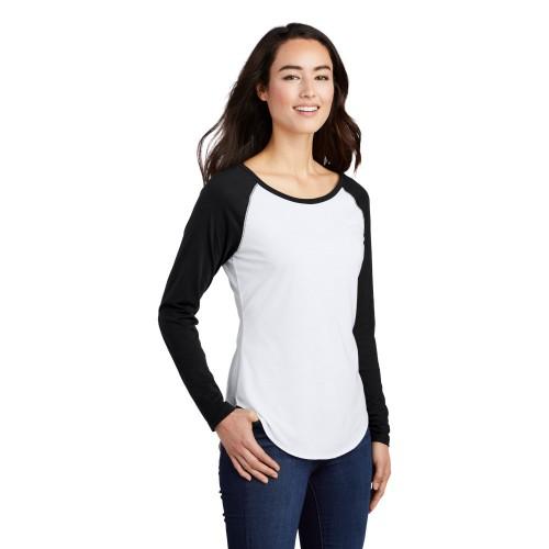Sport-Tek ® Ladies PosiCharge ® Long Sleeve Tri-Blend Wicking Scoop Neck Raglan Tee