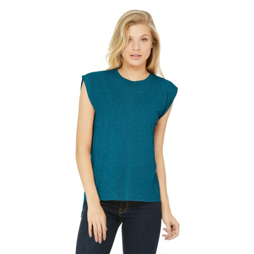 BELLA+CANVAS ® Women's Flowy Muscle Tee With Rolled Cuffs
