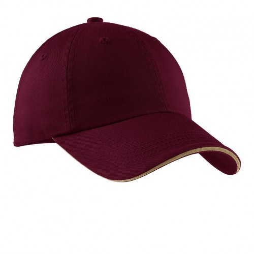 Port Authority® Sandwich Bill Cap with Striped Closure