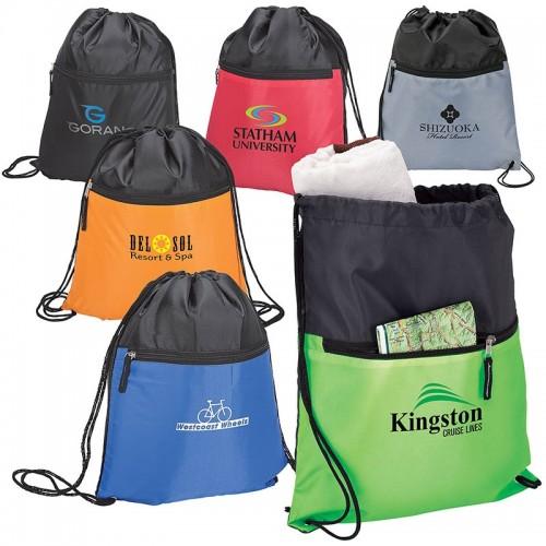 Drawstring Sports Bag With Zip Pocket